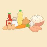 Garatuja dos ingredientes de alimento Fotografia de Stock Royalty Free