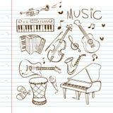 Garatuja dos instrumentos de música ilustração do vetor