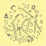 Garatuja esboçado Desenho da mão Grupo de palavras e de etiquetas Elementos químicos Dispositivos da escola Régua compassos Lápis Imagem de Stock
