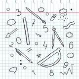 Garatuja esboçado Desenho da mão Grupo de palavras e de etiquetas Elementos químicos Dispositivos da escola Régua compassos Lápis Foto de Stock Royalty Free
