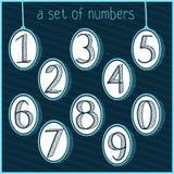 Garatuja esboçado Desenho da mão Jogo de números pintados Desenho da mão números Fundo Foto de Stock Royalty Free