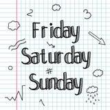 Garatuja esboçado Um grupo de sinais, palavras, dias da semana Desenho da mão Barra A lápis desenho Rotulação da garatuja Imagens de Stock