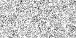 Garatuja floral abstrata do teste padrão Ilustração Royalty Free
