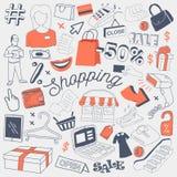 Garatuja a mão livre da venda da compra com roupa, acessórios e dinheiro Grupo de elementos tirado mão do disconto do verão Imagens de Stock