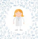 Garatuja médica dos ícones Ilustração do vetor Foto de Stock