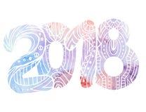 A garatuja número 2018 com teste padrão do boho e fundo da aquarela com espirra Ano novo Fotografia de Stock