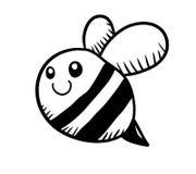 Garatuja preto e branco adorável da abelha Imagens de Stock Royalty Free