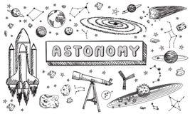 Garatuja preto e branco da educação da ciência da astronomia do esboço ilustração royalty free