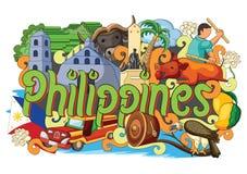 Garatuja que mostra a arquitetura e a cultura de Filipinas ilustração do vetor