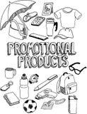 Garatuja relativa à promoção dos produtos Foto de Stock