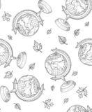 Garatuja retro do vetor de um suporte do globo do mundo Fotografia de Stock Royalty Free