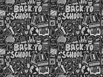 Garatuja sem emenda de volta ao teste padrão da escola Imagens de Stock Royalty Free