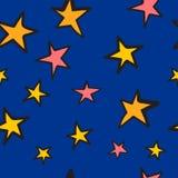 A garatuja stars o teste padrão sem emenda Fotografia de Stock Royalty Free