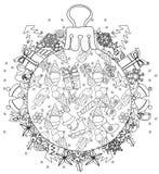 Garatuja tirada mão da árvore de abeto da bola de vidro do Natal Ilustração Royalty Free