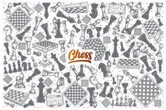 Garatuja tirada mão da xadrez ajustada com rotulação ilustração do vetor