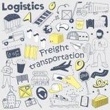 Garatuja tirada mão do serviço da logística Entrega e grupo de elementos a mão livre de envio Fotos de Stock