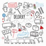 Garatuja tirada mão do transporte da entrega do frete Elementos logísticos da indústria Transporte, recipiente, entregando o serv ilustração stock