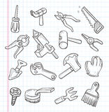 A garatuja utiliza ferramentas o ícone Fotos de Stock