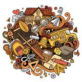 Garatujas bonitos dos desenhos animados de volta à ilustração colorida da escola ilustração do vetor