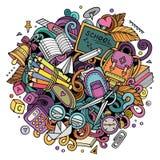 Garatujas bonitos dos desenhos animados de volta à ilustração colorida da escola ilustração royalty free