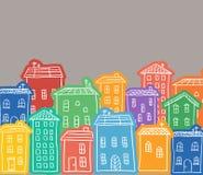 Garatujas coloridas casas Fotos de Stock Royalty Free