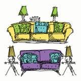 Garatujas contemporâneas da mobília Ilustração Royalty Free