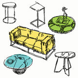 Garatujas contemporâneas da mobília Ilustração do Vetor