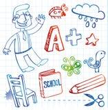 Garatujas da escola, grupo do vetor Imagem de Stock Royalty Free