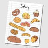 Garatujas da padaria - papel alinhado ilustração royalty free