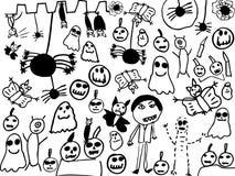 Garatujas das crianças de monstro do Dia das Bruxas Imagens de Stock