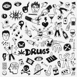 Garatujas das drogas ajustadas ilustração royalty free