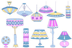 Garatujas das lâmpadas Imagens de Stock Royalty Free
