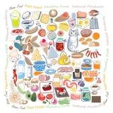 Garatujas do alimento ajustadas imagem de stock royalty free