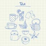 Garatujas do chá - papel esquadrado Imagens de Stock Royalty Free