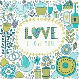 Garatujas do dia de Valentim do vetor Mão romântica elementos tirados ilustração do vetor