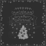 Garatujas do Natal do vintage do vetor Mão sazonal desenhos animados tirados na placa suja do giz preto Imagens de Stock