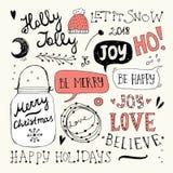 Garatujas do Natal e do ano novo ajustadas Fotografia de Stock Royalty Free