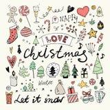 Garatujas do Natal e do ano novo ajustadas Foto de Stock Royalty Free