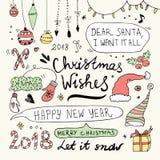 Garatujas do Natal e do ano novo ajustadas Fotografia de Stock