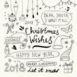 Garatujas do Natal e do ano novo ajustadas Foto de Stock