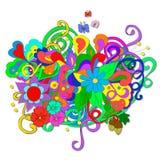 Garatujas do verão com flores e redemoinho Imagens de Stock