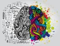 Garatujas esboçado brilhantes sobre o cérebro Imagens de Stock Royalty Free