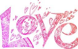 Garatujas esboçado cor-de-rosa do AMOR Imagens de Stock