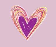 Garatujas grupo, ícones e ilustrações tirados mão dos corações do dia de Valentim para Valentim e casamento ilustração stock