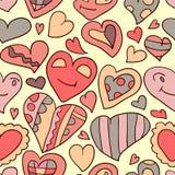 Garatujas sem emenda românticas do coração do teste padrão Imagens de Stock