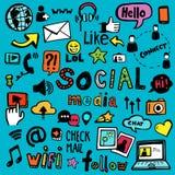 Garatujas sociais dos meios ilustração stock