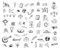 Garatujas tiradas mão dos ícones do negócio ajustadas Ícones do estilo do esboço decor ilustração do vetor