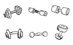 Garatujas tiradas mão dos pesos ajustadas Ícones do estilo do esboço decoração ilustração do vetor