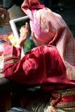 Garb-folklore. Women portrait makeup royalty free stock photography
