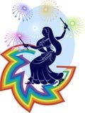 Garba (Dandia) es una danza india Imagen de archivo libre de regalías